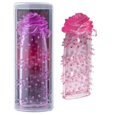 Erokay Bigger, розовая Насадка на пенис с головкой в форме бутона розы