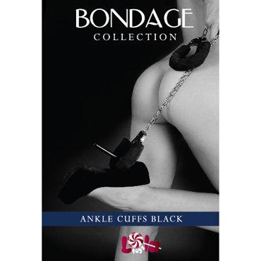 Lola Toys Bondage Ankle Cuffs, черные Оковы на ноги с мехом