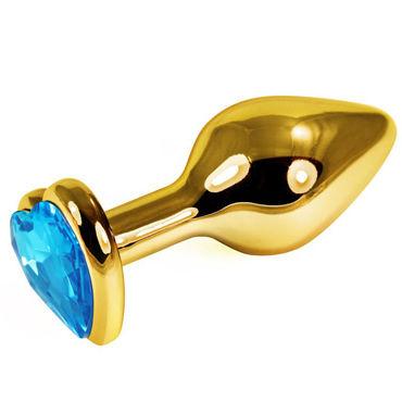 LoveToys Анальная втулка, золотая С голубым кристаллом в форме сердца