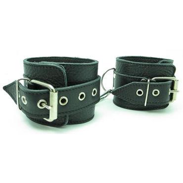 BDSM Арсенал кожаные наручники, черные На регулируемых ремешках