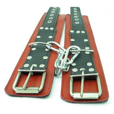 BDSM Арсенал кожаные наручники, красно-черные На регулируемых ремешках