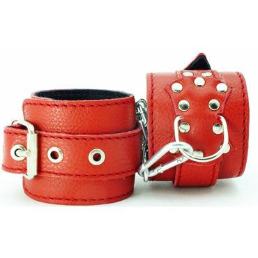 BDSM Арсенал кожаные оковы с пряжкой, красные На регулируемых ремешках