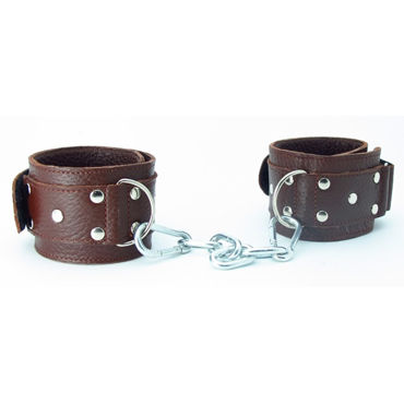 BDSM Арсенал кожаные наручники на липучках, коричневые Регулируются по размеру