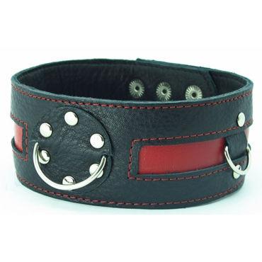BDSM Арсенал ошейник с заклепками, черно-красный С тремя кольцами для карабинов