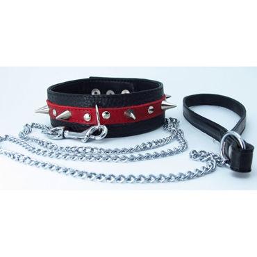 BDSM Арсенал ошейник с кольцом для поводка, черно-красный Декорирован шипами