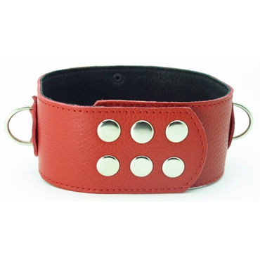 BDSM Арсенал ошейник широкий с продольным кольцом, красный С тремя кольцами для карабинов