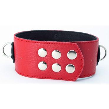 BDSM Арсенал ошейник широкий с продольным кольцом, красно-черный С тремя кольцами для карабинов