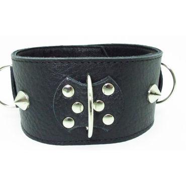 BDSM Арсенал ошейник широкий с поперечным кольцом, черный Декорирован шипами