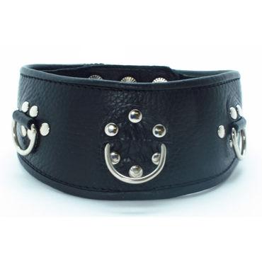 BDSM Арсенал ошейник с заклепками, черный С тремя кольцами для карабинов