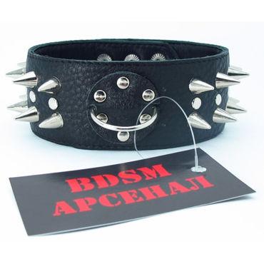 BDSM Арсенал ошейник с длинными шипами и кольцом, черный Декорирован заклепками