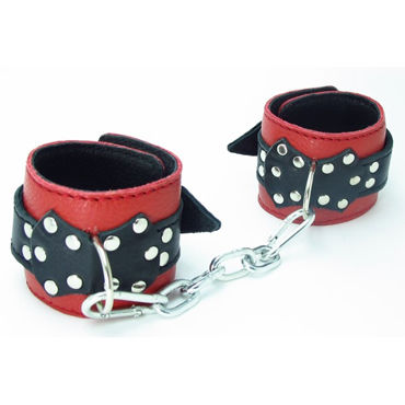 BDSM Арсенал кожаные поножи с пряжкой, красно-черные На регулируемых ремешках