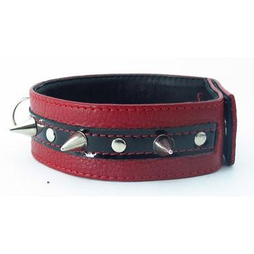 BDSM Арсенал ошейник с кольцом для поводка, красно-черный Декорирован шипами