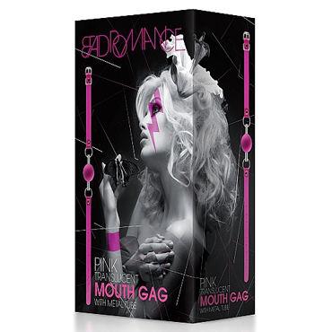 Shots Toys Bad Romance Translucent Mouth Gag with Metal Tube, розовый Кляп с металлической трубкой