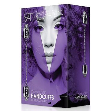 Shots Toys Bad Romance Translucent Handcuffs with Black Stripes, черно-белые Наручники с полосами