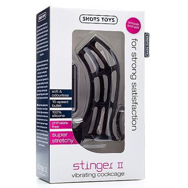 Shots Toys Stinger II, черная Насадка на пенис изогнутой формы