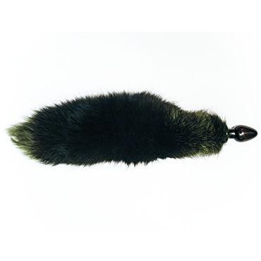 Wild Lust анальная пробка 6 см, черно-зеленая С лисьим хвостом