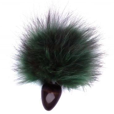 Wild Lust Анальная пробка 3 см, черно-зеленая С заячьим хвостом