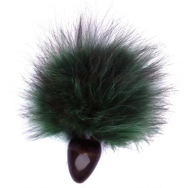 Wild Lust Анальная пробка 4 см, черно-зеленая С заячьим хвостом