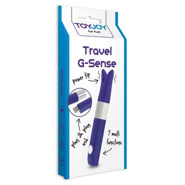 Toy Joy Travel G-Sense, фиолетовый мини вибратор с раздвоенной головкой
