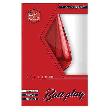 Shots Toys Bottom Line Butt plug Acrylic Model 2, широкая 13 см красная Анальная пробка