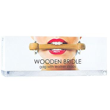 Ouch! Wooden Bridle, с белым ремешком Кляп в форме палочки