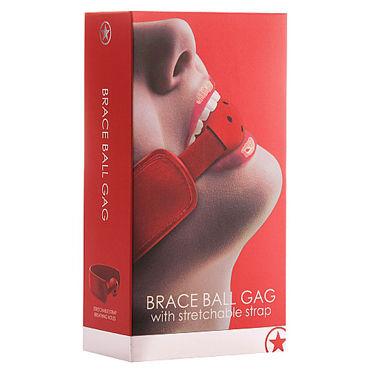 Ouch! Brace Ball Gag, красный Кляп с кожаным воротником