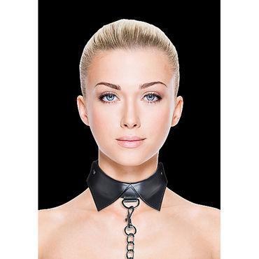 Ouch! Exclusive Collar & Leash, черный Ошейник-воротник с поводком