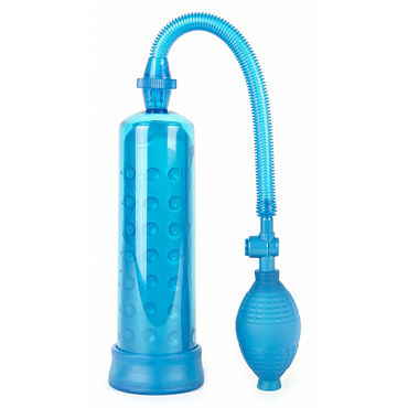Shots Toys Bubble Power Pump, синяя Вакуумная помпа с пузырчатой поверхностью