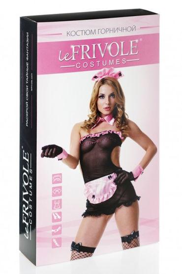 Le Frivole Секси Горничная Платье, головной убор, воротник, манжеты, перчатки и чулки