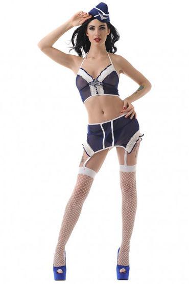 Le Frivole Скромная Стюардесса Топ, юбка с подвязками, головной убор, чулки