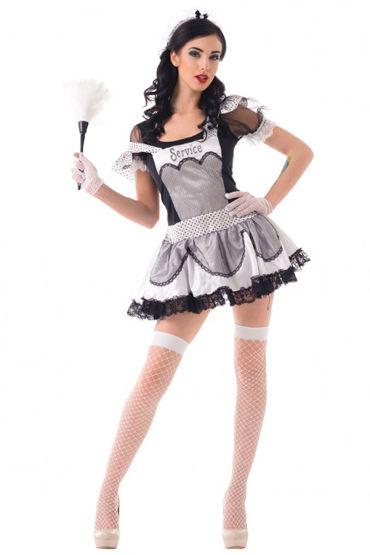 Le Frivole Старательная домработница Платье, головной убор, перчатки, чулки