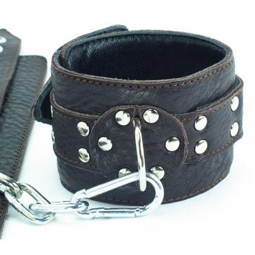 BDSM Арсенал наручники с заклепками кожаные, черные На регулируемых ремешках