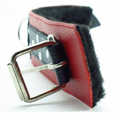 BDSM Арсенал комплект с меховой подкладкой, красно-черный Ошейник, наручники и наножники