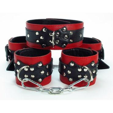 BDSM Арсенал комплект, красно-черный Ошейник, наручники и наножники