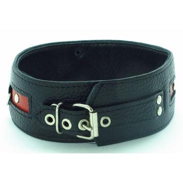 BDSM Арсенал ошейник с пряжкой, черно-красный С тремя кольцами для карабинов