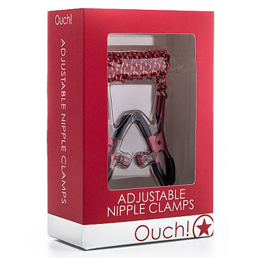 Ouch! Adjustable Nipple Clamps, красные Зажимы на соски с цепочкой