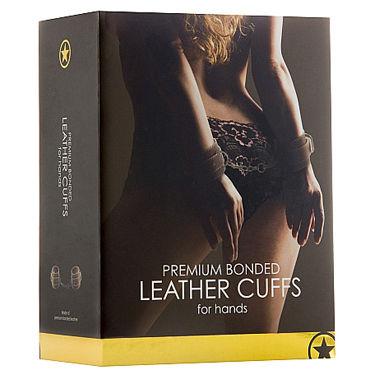 Ouch! Leather Hand Cuffs, коричневые Кожаные наручники