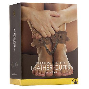 Ouch! Leather Ankle Cuffs, коричневые Кожаные поножи