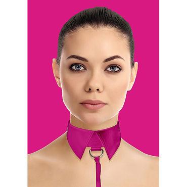 Ouch! Classic Collar with Leash, розовый Ошейник-воротник с поводком
