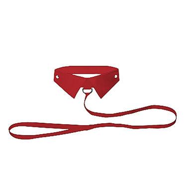 Ouch! Classic Collar with Leash, красный Ошейник-воротник с поводком
