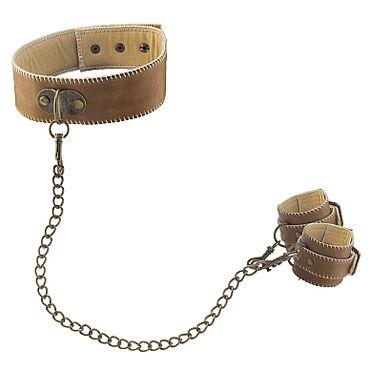 Ouch! Collar With Handcuffs, коричневые Ошейник и наручники