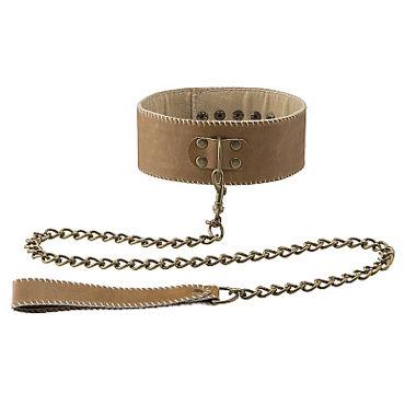 Ouch! Collar With Leash, коричневый Ошейник с поводком