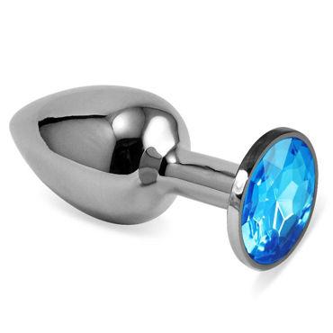 Luxurious Tail Металлическая анальная пробка, серебристая С голубым стразом