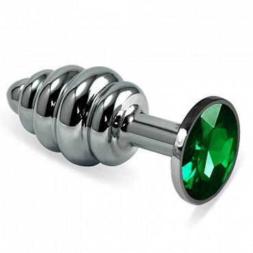 Luxurious Tail Анальная пробка фигурная с зеленым стразом, серебристая Металлическая