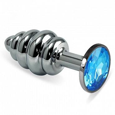 Luxurious Tail Анальная пробка фигурная с голубым стразом, серебристая Металлическая