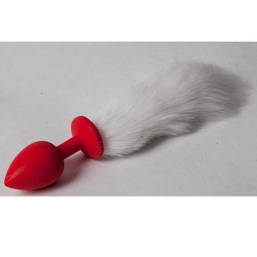 Luxurious Tail Анальная пробка с белым хвостом, красная Силиконовая