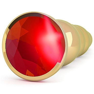 Shots toys Rich Gold Plug Red Sapphire R5 Анальная елочка со стразом