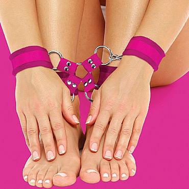 Ouch! Velcro Hand And Leg Cuffs, розовый Комплект для бандажа