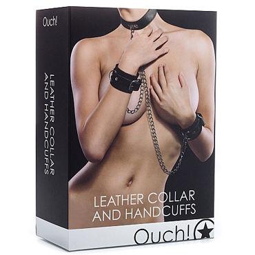 Ouch! Leather Collar and Handcuffs, черный Ошейник и наручники