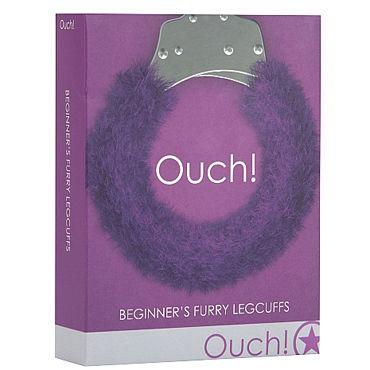 Ouch! Beginner's Legcuffs Furry, фиолетовые Наручники с мехом